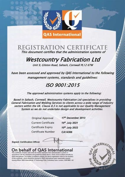 ISO9001:2015 Quality Assurance for Westcountry Fabrication Ltd: Structural steel supplier and metal fabricator
