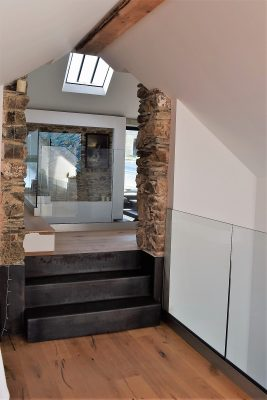 Steel stair and wall trim