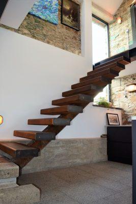 Steel staircase in barn conversion